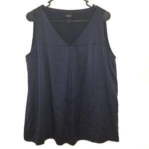 Eileen Fisher navy silk sleeveless tank top large